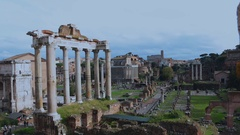Roman Forum - ancient architectural monuments in Rome, Italy. Stock Footage