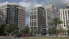 Traffic on Orange Avenue, downtown, Orlando, Florida USA Stock Footage