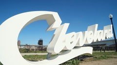 CLEVELAND, CLEVELAND SCRIPT SIGN,  SOUTH SIDE OF CITY ON ABBEY AVENUE, SUNNY DAY Stock Footage