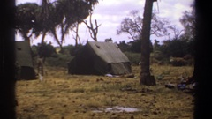 1969: view of campsite and the tents erected KENYA Stock Footage