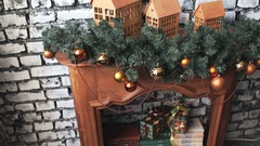Cristmas tree with toys on fireplace background Stock Footage