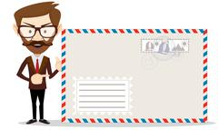 Handsome bearded businessman in formal suit holding an envelope Stock Illustration