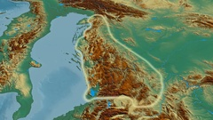 Revolution around Dinaric Alps mountain range - glowed. Relief map Stock Footage