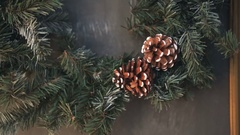 Cristmas tree with fir-cone Stock Footage