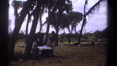 1969: getting ready to make camp KENYA Stock Footage
