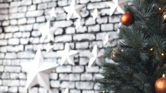 Cristmas tree with toys on stars background Stock Footage