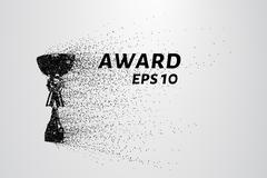 The award of the particles. Sports trophy consists of circles and points. V.. Stock Illustration