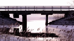 Handheld shot of a bridge over a strait Stock Footage