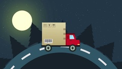 Colorful animation of delivery flat van with a big box on the road at the night Stock Footage