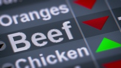 Beef index of stock market. Down. Looping. Stock Footage