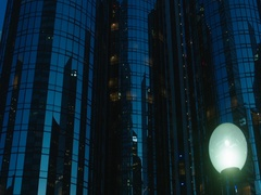 Downtown street perspective view. Early morning. Los Angeles, California Stock Footage