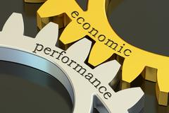 Economic Performance concept on the gearwheels, 3D rendering Stock Illustration