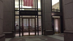 Nightime NX Establishing Shot of law office of Cravath, Swain and Moore, LLP. Stock Footage