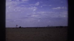 1969: a small landing aircraft is flying low over a field SUDAN Stock Footage