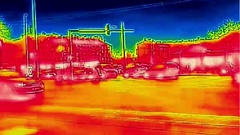Infrared thermal video traffic on city street Stock Footage