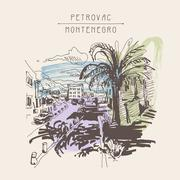 Sepia sketch drawing of Petrovac Montenegro street with palm Stock Illustration