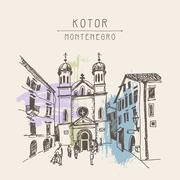 Sketch drawing of Church of Saint Tryphon in Kotor Montenegro Stock Illustration
