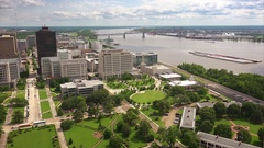 Baton Rouge City Skyline and Mississippi River in Louisiana Stock Footage
