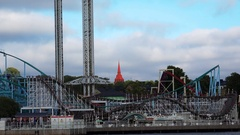 Grona Lund - amusement park in Stockholm. Sweden. 4K. Stock Footage