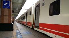 Taiwan Highspeed train is leaving station Hualien Stock Footage