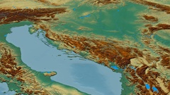 Revolution around Dinaric Alps mountain range - masks. Relief map Stock Footage