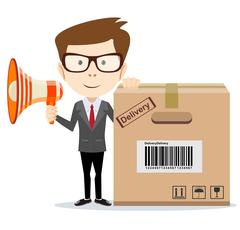 Abstract delivery service man with box and Megaphone . Stock Illustration