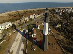 Tybee Island LightStation Fly By Stock Footage