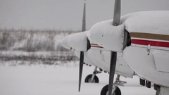 Small Aircraft Cowling and Propellers Snow Storm Stock Footage