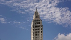 Louisiana State Capitol Building in Baton Rouge, Tilt Down Stock Footage