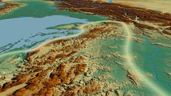 Glide over Dinaric Alps mountain range - glowed. Relief map Stock Footage
