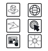 Set virtual reality devices elements icons Stock Illustration