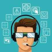 Vr reality glasses man headset interface Stock Illustration