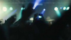 Music Concert Crowd Waving Hands In The Air Stock Footage