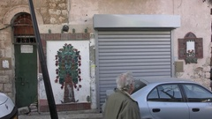 The Art Route in Wadi Nisnas neighborhood, Museum Without Walls Stock Footage