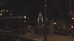 Pivioting Downtown Los Angeles City Hall Stock Footage