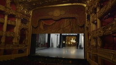 Curtain comes down, ornate European opera house Stock Footage