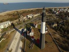 Tybee Island LightStation Aerial Stock Footage