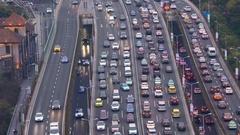 Traffic jam in Shanghai, China Stock Footage