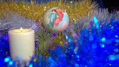 Christmas composition with candle and light Stock Footage