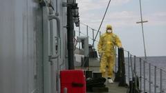 Belgian navy vessel operates on mediterranean sea for SAR Stock Footage