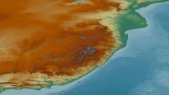 Revolution around Drakensberg mountain range - masks. Relief map Stock Footage