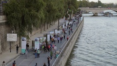 Paris Breathes - cars prohibited Sundays, pedestrians on closed roads Stock Footage