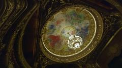 PARIS, FRANCE - SEPTEMBER 19, 2016 Garnier Opera house ceiling 2 Stock Footage