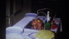 1973: first dinner party NEW YORK Stock Footage