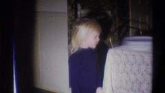 1973: two children standing at a table before dinner NEW YORK Stock Footage