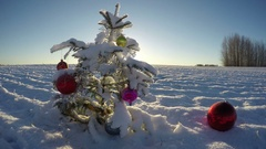 Beautiful Christmas tree with bauble on snowy field, time lapse 4K Stock Footage