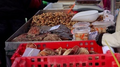 Fresh seafood assortment at the market. Selective focus. Real time video. Stock Footage