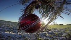 Pine tree branch with Christmas bauble in wind outdoor, 4K Stock Footage