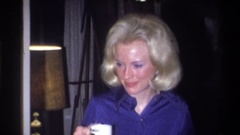 1973: a woman blinking her eyes NEW YORK Stock Footage