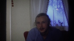 1973: a man in a blue shirt smiles at you NEW YORK Stock Footage